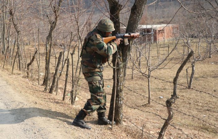 Sources said the gunfight erupted after a joint team of army's 22-Rashtriya Rifles and special operations group (SOG) of J&K police laid a siege in Brath Kalan area of Sopore. (Photo by Umer Asif)