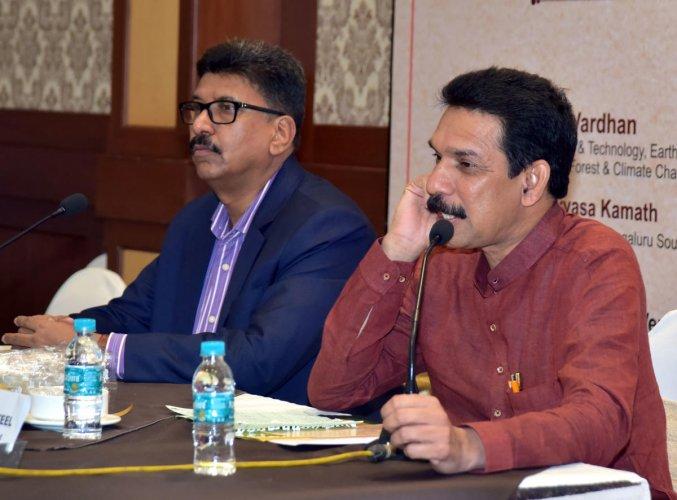 MP Nalin Kumar Kateel speaks to reporters in Mangaluru on Wednesday.