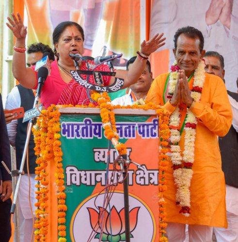 Beawar: Rajasthan Chief Minister Vasundhara Raje addresses an election rally in support of BJP candidate Shankar Singh Rawat, in Beawar, Tuesday, Nov. 27, 2018. (PTI Photo) (PTI11_27_2018_000139B)