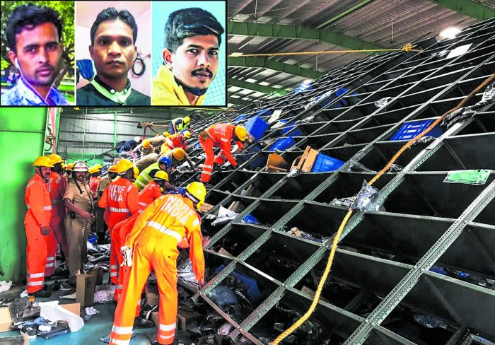 Three workers (inset) were killed after iron racks fell on them at a warehouse in Seegehalli, Whitefield, on Thursday.