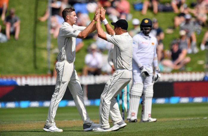 WRECKER-IN-CHIEF: New Zealand's Tim Southee (left) celebrates with team-mates the dismissal of Sri Lanka's Dinesh Chandimal on Saturday. AFP