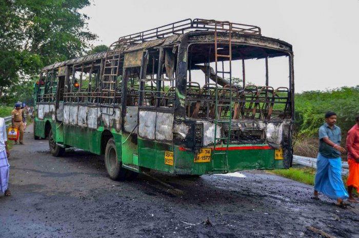 A vandalised government bus during a violent protest against the closure of Vedanta's Sterlite Copper unit, in Thoothukudi, on Friday. Over 100 people were arrested for protesting police firing on Tuesday and Wednesday in the port city that left 13 dead. PTI/FILE