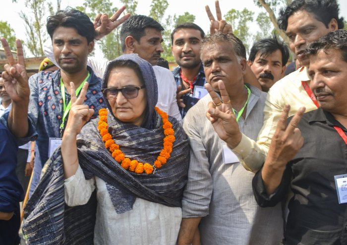 Rashtriya Lok Dal candidate Tabassum Hasan with her supporters outside a counting centre after winning the Kairana Lok Sabha by-elections, in Kairana on Thursday, May 31, 2018. Hasan was also supported by the Congress, Samajwadi Party and Bahujan Samaj Party. PTI file photo