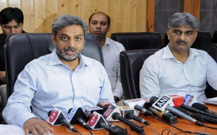 Chief Electoral Officer Shaleen Kabra addresses a press conference as he announces the dates for Muncipal elections in Srinagar. PTI photo