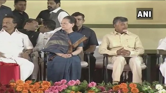 Gandhi along with her son and Congress President Rahul Gandhi shared the stage with Andhra Pradesh Chief Minister N Chandrababu Naidu and Kerala Chief Minister Pinnarayi Vijayan at the DMK headquarters. Image courtesy ANI/Twitter