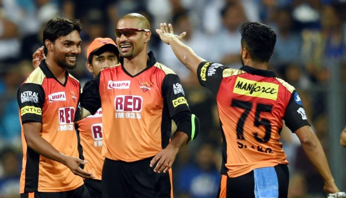 Sunrisers Hydrabad bowler Sandeep Sharma (left) escaped punishment at the hands of Rishabh Pant during their match against Delhi Daredevils on Tuesday. PTI