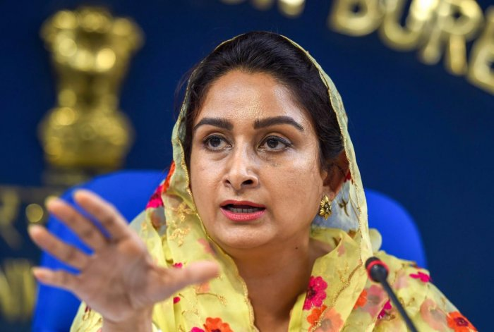 Union Minister for Food Processing Industries Harsimrat Kaur Badal addresses a press conference in New Delhi on Monday. PTI