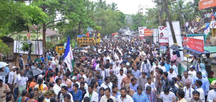 A view of the padayatra in West Godavari district on Wednesday.