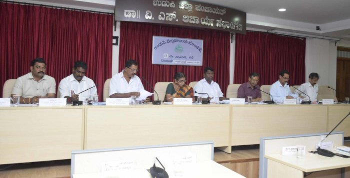 ZP President Dinakar Babu, Vice President Sheela Shetty and others during the ZP meeting in Udupi on Tuesday.