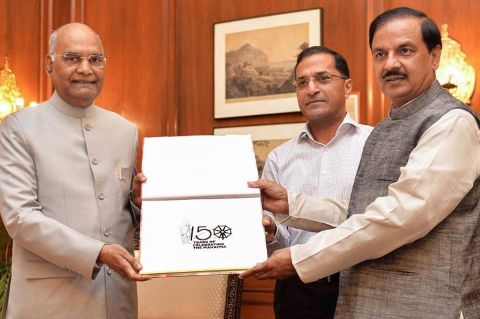 President Ram Nath Kovind launches the logo for the commemoration of 150th Birth Anniversary of Mahatma Gandhi and a web portal during a function at Rashtrapati Bhavan, in New Delhi on Tuesday. PTI