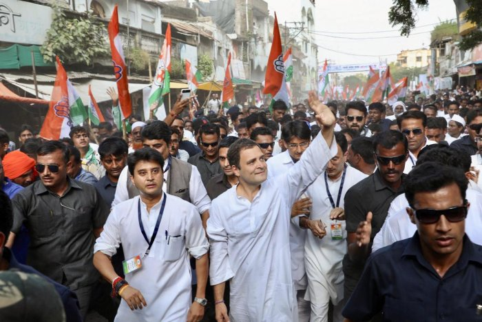 Congress president Rahul Gandhi and other leaders participate in the Gandhi Sankalp Yatra to commemorate the 149th birth anniversary of Mahatma Gandhi, in Wardha, on Tuesday. PTI