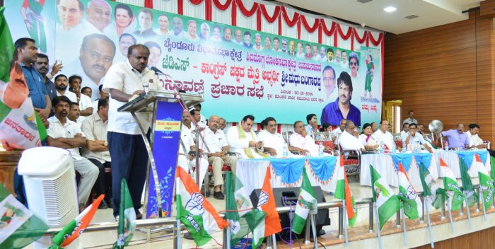 Chief Minister H D Kumaraswamy addresses an election campaign rally at Trasi near Byndoor on Tuesday.