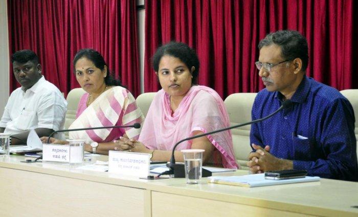 MP Shobha Karandlaje chairs Development Coordination and Monitoring Committee (DISHA) meeting, in Udupi on Friday.