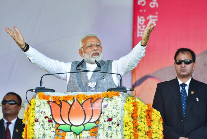 Prime Minister Narendra Modi addresses a public rally ahead of state Assembly elections, in Chhatarpur, on Saturday. PTI
