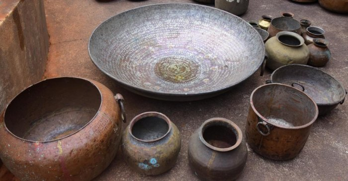 Copper vessels that are more than 300 years old at the Adamar Mutt.