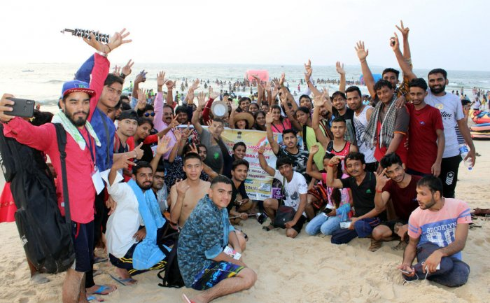 Youth from Uttarkhand and Karnataka on the shores of a beach in Udupi.
