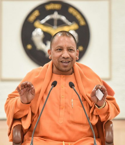 Uttar Pradesh Chief Minister Yogi Adityanath addresses a press conference at his residence in Lucknow on Dec. 14, 2018. PTI