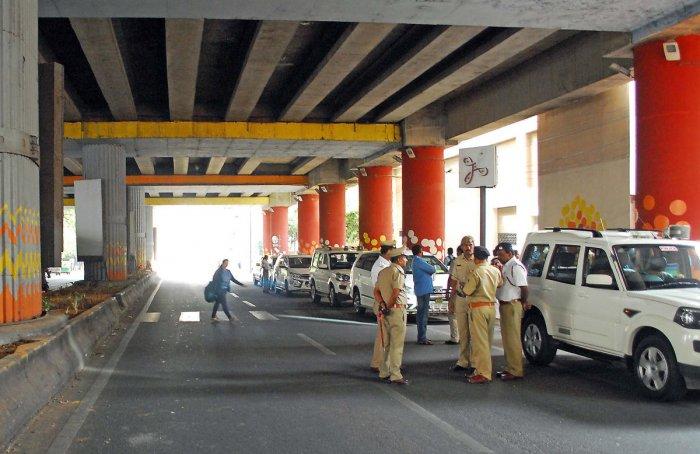Traffic blocked for Deputy Chief Minister G Parameshwara to inspect Metro pillar near Trinity metro station in Bengaluru on Saturday 15th December 2018.