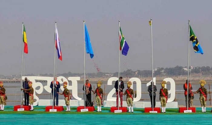 Heads of Missions attend the flag-hoisting ceremony during their day-long visit of Kumbh Mela region, in Allahabad, on Saturday. PTI