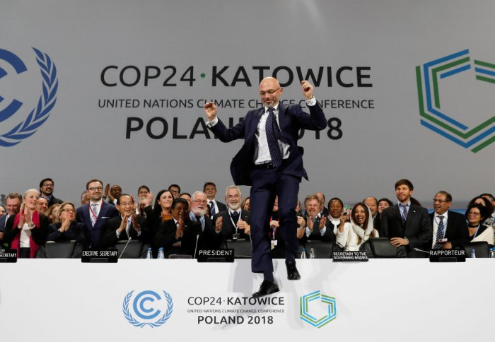 COP24 President Michal Kurtyka reacts during a final session of the COP24 U.N. Climate Change Conference 2018 in Katowice, Poland, December 15, 2018. REUTERS/Kacper Pempel