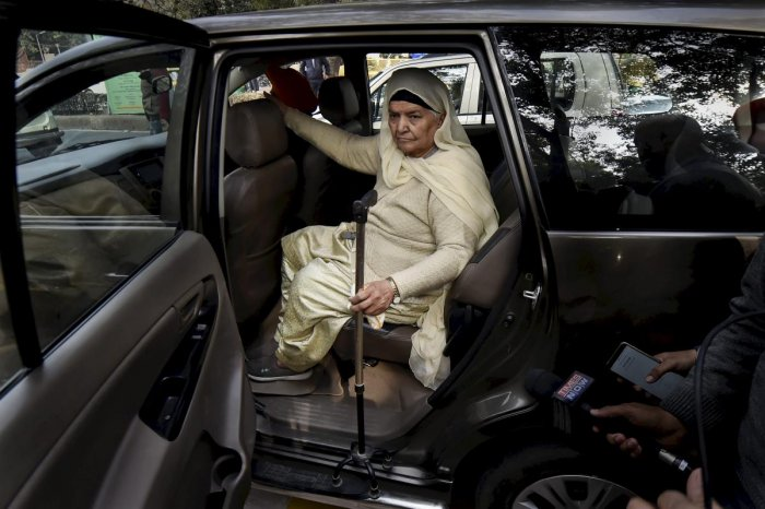 Jagdish Kaur, whose husband was killed during 1984 anti-Sikh riots, leaves after the Delhi High Court convicted Congress leader Sajjan Kumar for criminal conspiracy, promoting enmity, acts against communal harmony in the case and sentenced him to life imprisonment, in New Delhi, Monday, Dec. 17, 2018. (PTI Photo/ Ravi Choudhary)