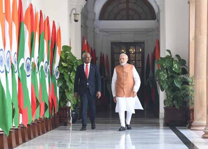 Solih arrived here Sunday on a three-day state visit, his first foreign trip after assuming charge of the top office in the island nation a month ago. (Twitter/MEAIndia)