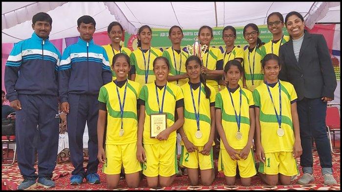 Bottom row: Amoolya M, Kripa VS, Laasya Suresh, Akshara Manohar, Vachana Basavaraj Hiremath. Top row: Chandana R, Komal B, Shreya G, Varsha G (capt.), Veditha K, Aditi Hulmani, Raksha P. Team Coach: Ranganatha VN, Thippeswamy RN. Team Manager: Anita Rai B