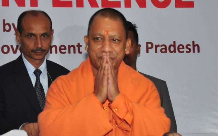 Yogi Adityanath in Guwahati on Monday. Photo credit Manash Das