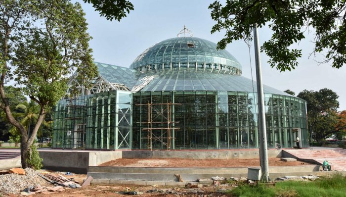 A view of the Glass House at Kuppanna Park in Mysuru.