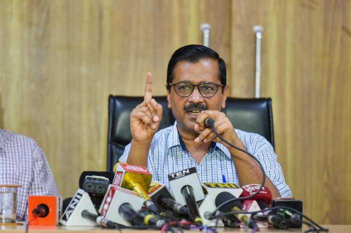 Delhi Chief Minister Arvind Kejriwal addresses a press conference in relation to the new Electricity bill in New Delhi on Saturday. (PTI photo)