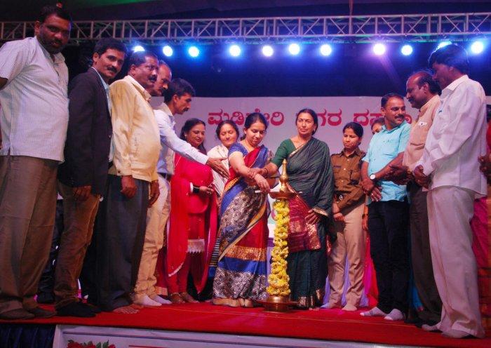 Deputy Commissioner P I Sreevidya inaugurates cultural programmes at Gandhi Maidan in Madikeri on account of Dasara celebrations on Friday night.
