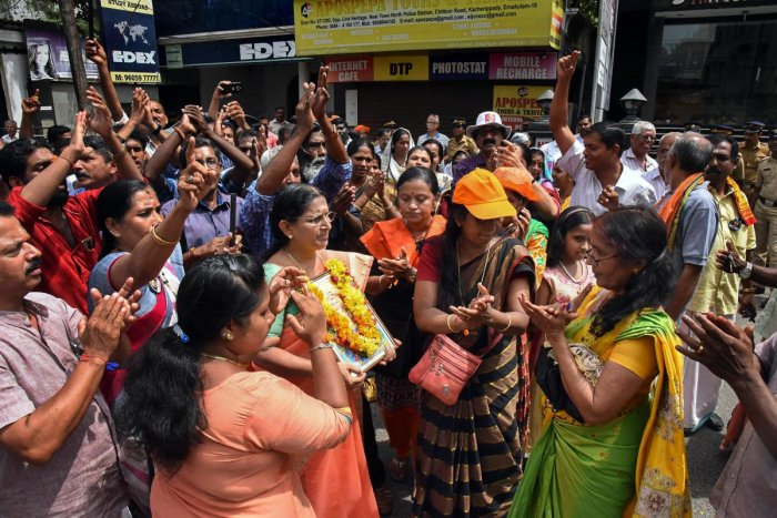 Women protest at North Police station, in Kochi, on October 21, 2018. PTI