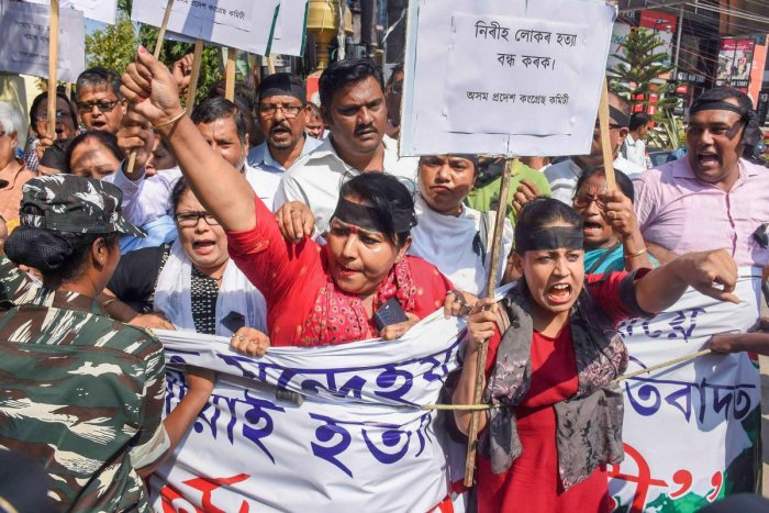 Activists take part in a protest against the killing of innocent people in Tinsukia district by suspected United Liberation Front of Assam (ULFA) terrorists at Kherbari Bisonibari in Tinsukia district. PTI