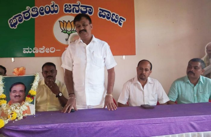 MLC M P Sunil Subramani speaks during a condolence meeting at the district BJP office in Madikeri on Monday.