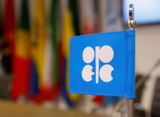 The logo of the Organization of the Petroleum Exporting Countries (OPEC) is seen inside their headquarters in Vienna, Austria. REUTERS
