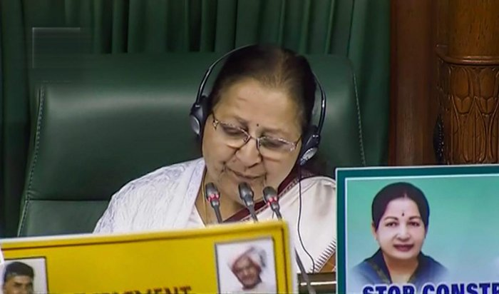Speaker Sumitra Mahajan in the Lok Sabha conducts a proceeding during the Winter Session of Parliament, in New Delhi on Monday. PTI