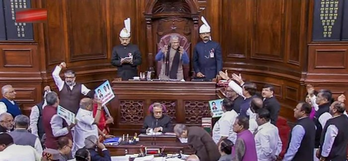 Rajya Sabha was on Wednesday adjourned till 2 PM after AIADMK MPs rushed to the Well of the House over Cauvery issue. PTI photo