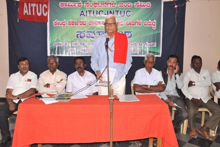 AITUC state unit secretary N Shivanna speaks at a convention in Chikkamagaluru.