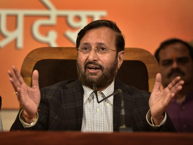 Union HRD Minister Prakash Javadekar addresses a press conference at UP BJP office, in Lucknow, on Monday. PTI