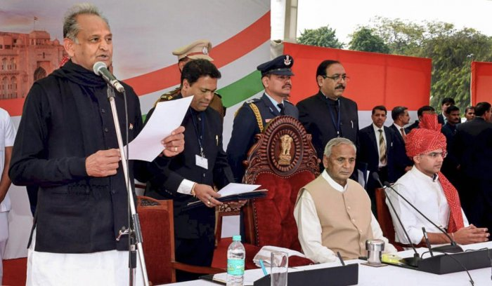 Ashok Gehlot takes oath as the Chief Minister of Rajasthan. PTI photo