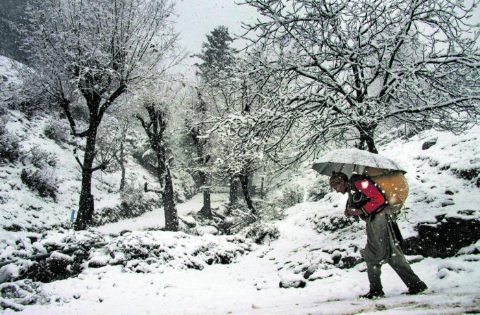 An elderly man, carrying a load on his back, walks on a snow-covered road during snowfall at Tangmarg in Baramulla district of north Kashmir.