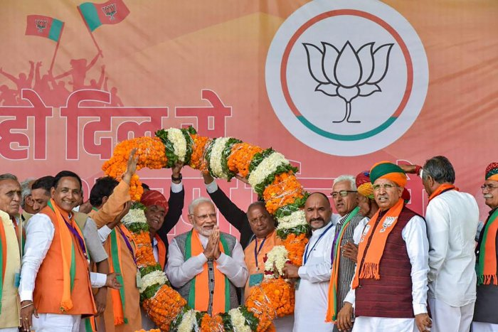 Prime Minister Narendra Modi during an election rally ahead of the state Assembly elections, in Nagaur on November 28, 2018. Twitter Photo via PTI
