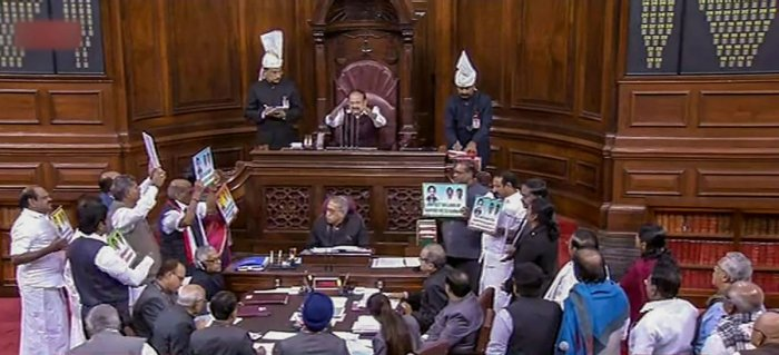 The proceedings in the Rajya Sabha were washed out for the seventh day on Wednesday after the opposition and treasury benches clashed over the Rafale deal and Tamil parties protested over the Cauvery issue. PTI photo