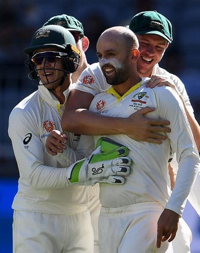 MEMORABLE WIN: Their win in the second Test at Perth has come at the right time for Australia who were under a turmoil after the ball-tampering scandal. AFP
