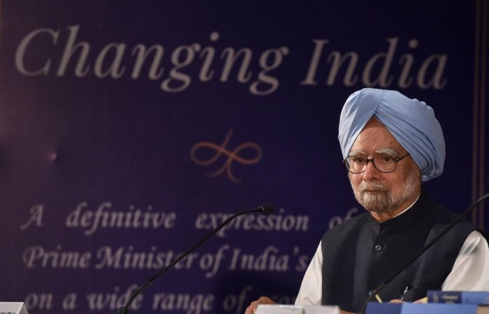 """Former Prime Minister Manmohan Singh at launches his book """"Changing India', a five-volume book, in New Delhi. PTI File Photo"""