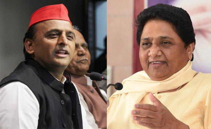 Former Uttar Pradesh chief ministers Akhilesh Yadav and Mayawati. PTI file photos