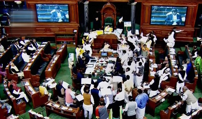 The Lok Sabha continued to witness uproar even on Wednesday as the MPs of the Congress and other political parties trooped into the well of the House, raising slogans and waving placards with a range of demands. PTI file photo