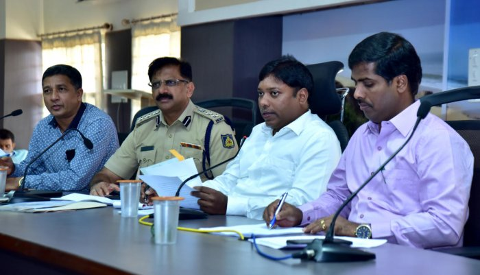 Deputy Commissioner Sasikanth Senthil speaks at road safety meeting organised as a part of RTA meeting, in Mangaluru on Wednesday.