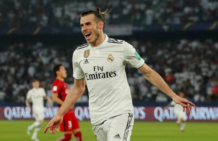 FANTASTIC FORM: Real Madrid's Gareth Bale celebrates scoring their second goal against Kashima Antlers. REUTERS