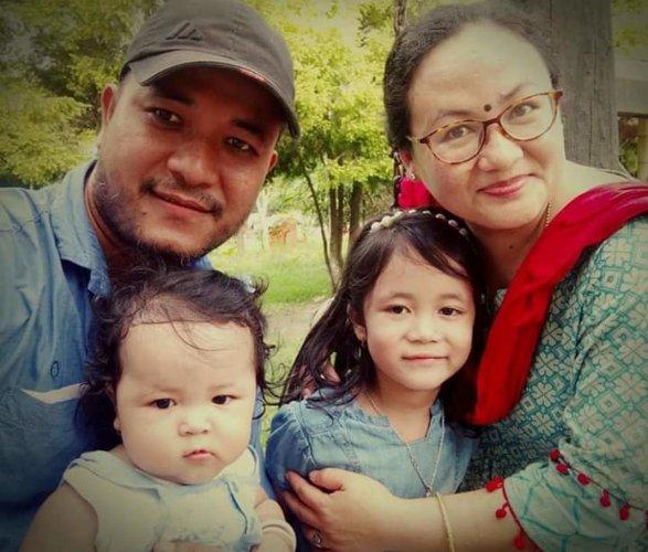 Kishorechandra Wangkhem with his family. DH Photo/Sumir Karmakar